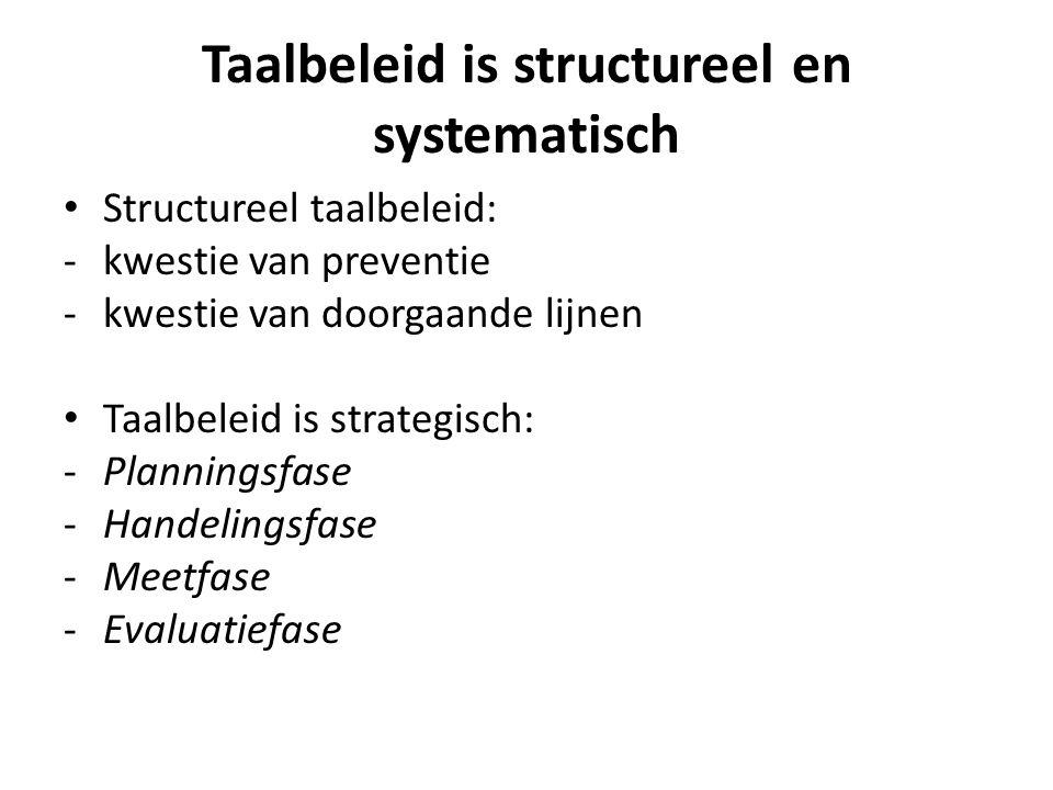 Taalbeleid is structureel en systematisch