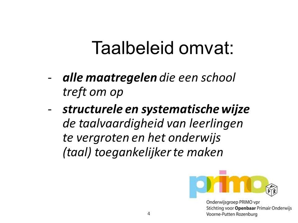 Taalbeleid omvat: alle maatregelen die een school treft om op