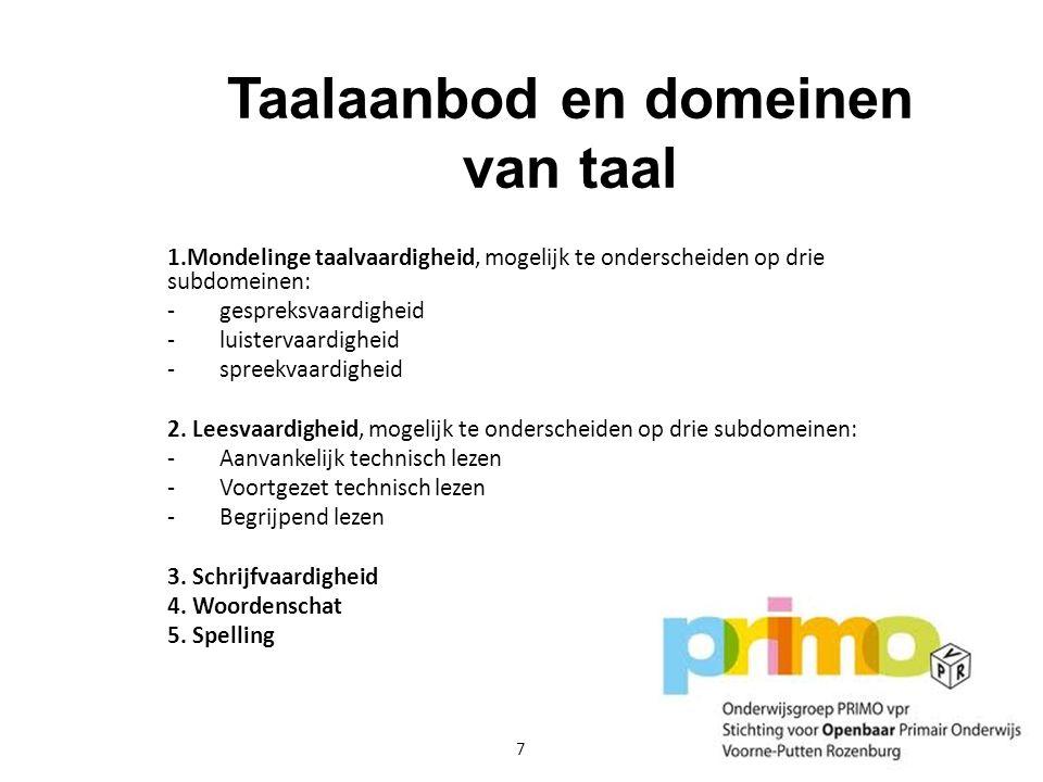 Taalaanbod en domeinen van taal
