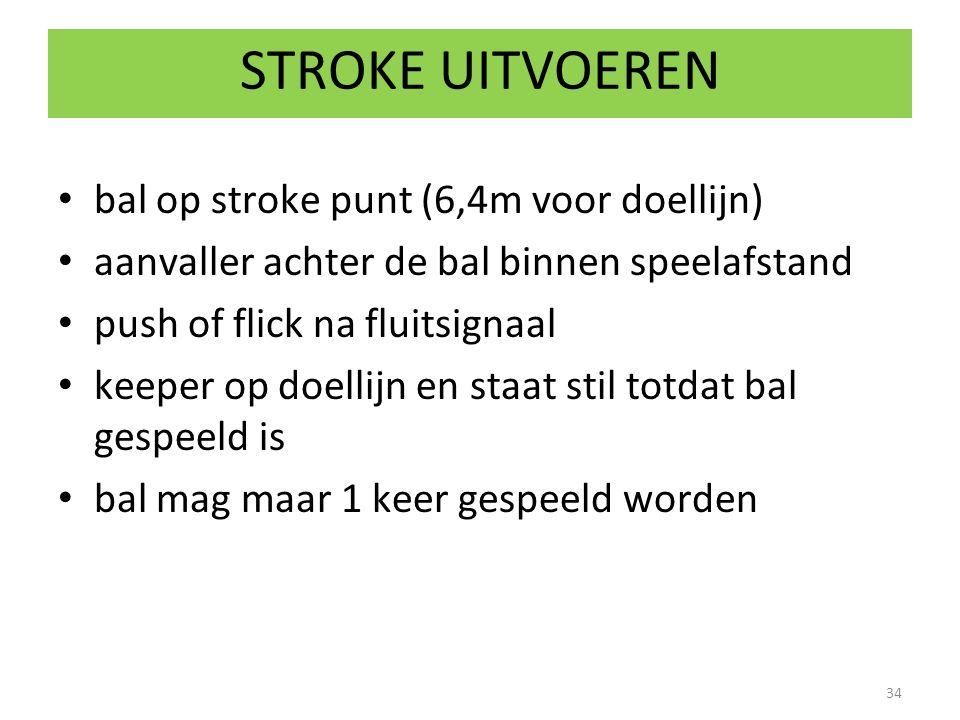 STROKE UITVOEREN bal op stroke punt (6,4m voor doellijn)