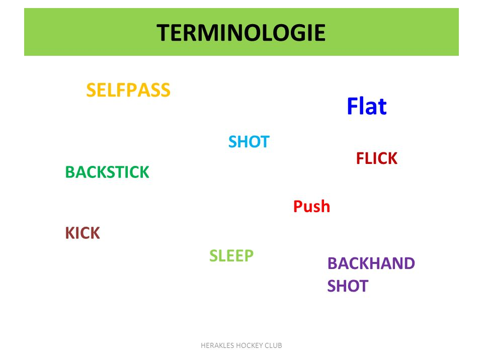Flat TERMINOLOGIE SELFPASS SHOT FLICK BACKSTICK Push KICK SLEEP