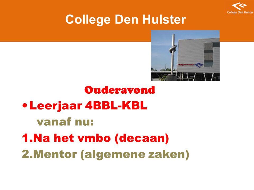 College Den Hulster Ouderavond Leerjaar 4BBL-KBL vanaf nu: