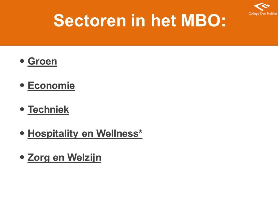 Sectoren in het MBO: Groen Economie Techniek Hospitality en Wellness*