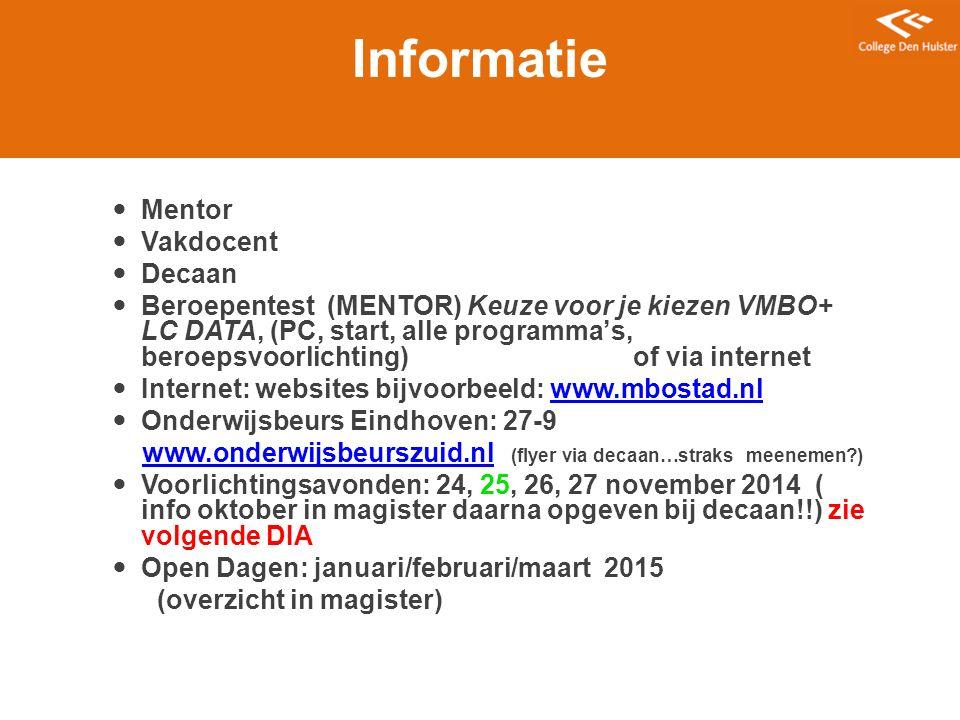 Informatie Mentor Vakdocent Decaan