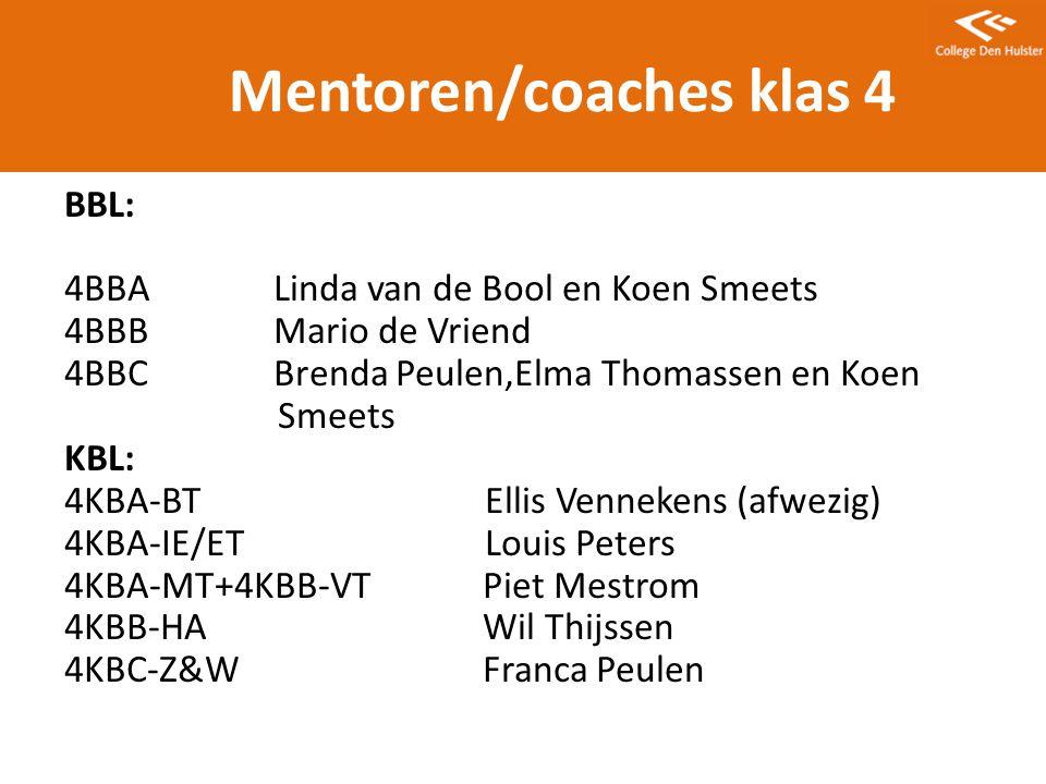 Mentoren/coaches klas 4
