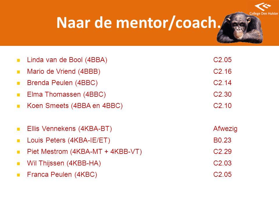 Naar de mentor/coach… Linda van de Bool (4BBA) C2.05