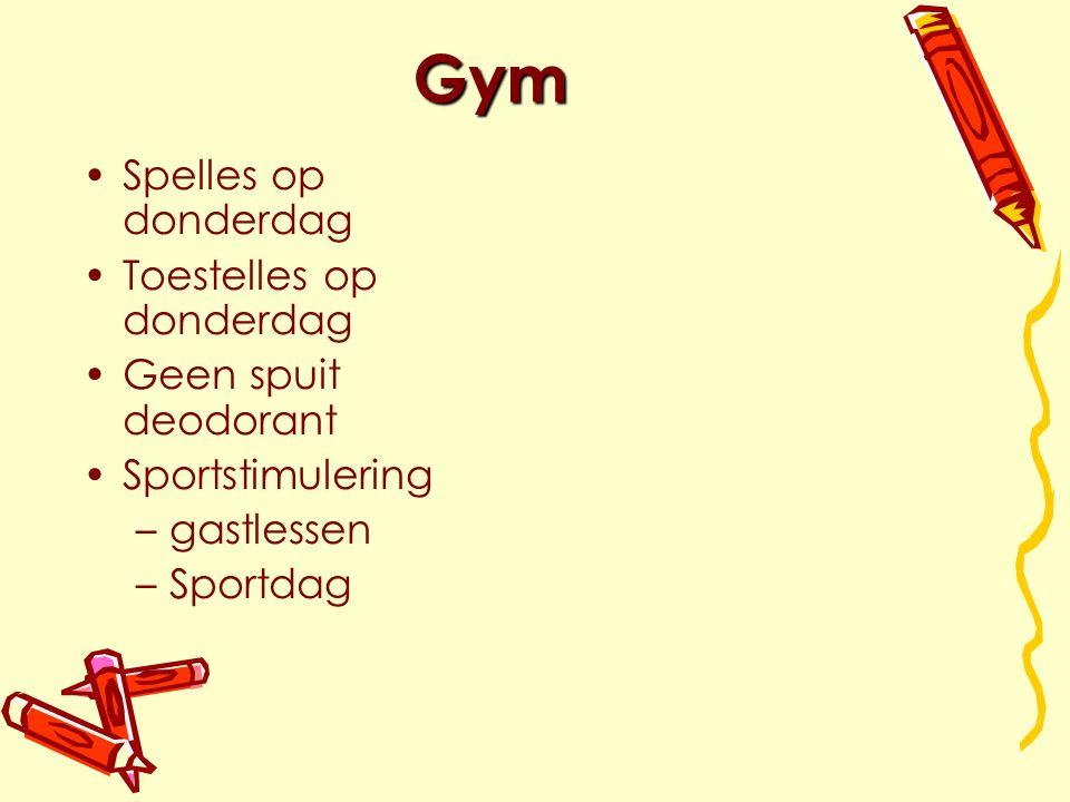 Gym Spelles op donderdag Toestelles op donderdag Geen spuit deodorant