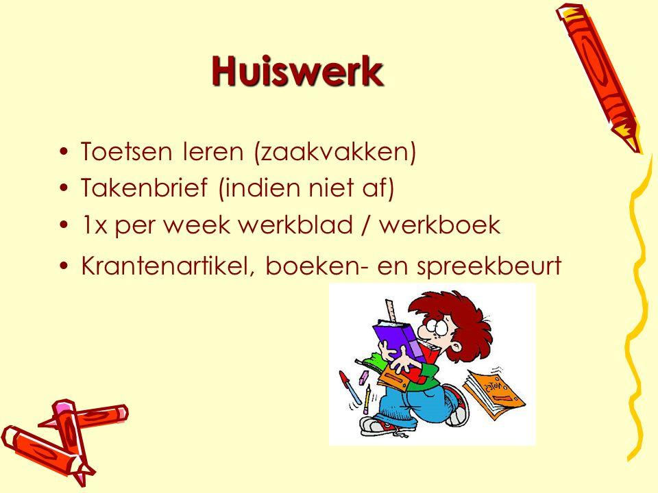 Huiswerk Toetsen leren (zaakvakken) Takenbrief (indien niet af)