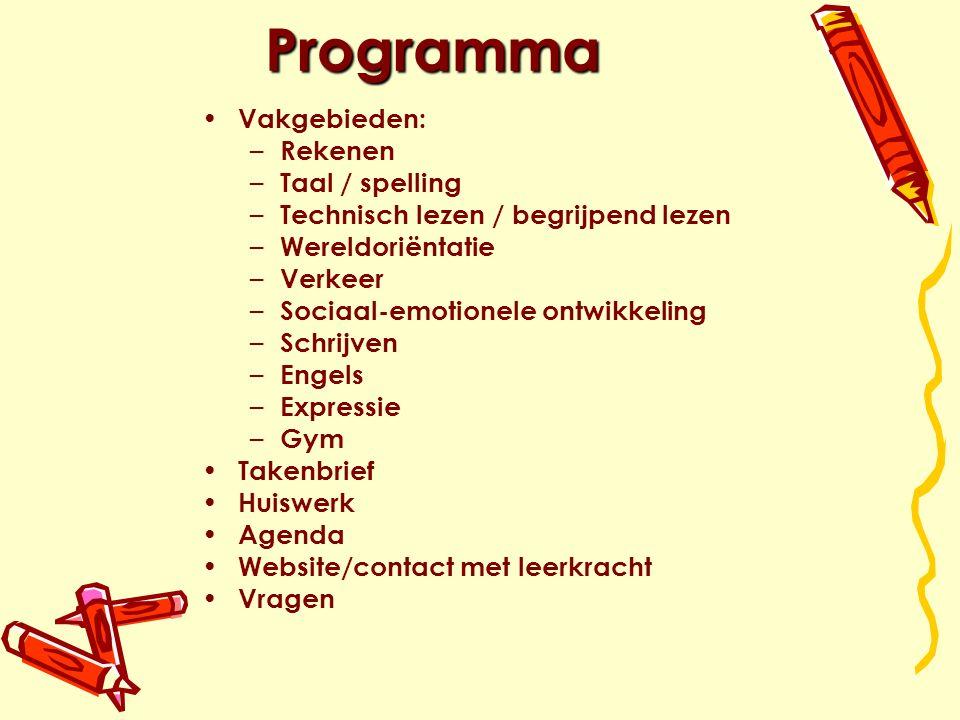 Programma Vakgebieden: Rekenen Taal / spelling
