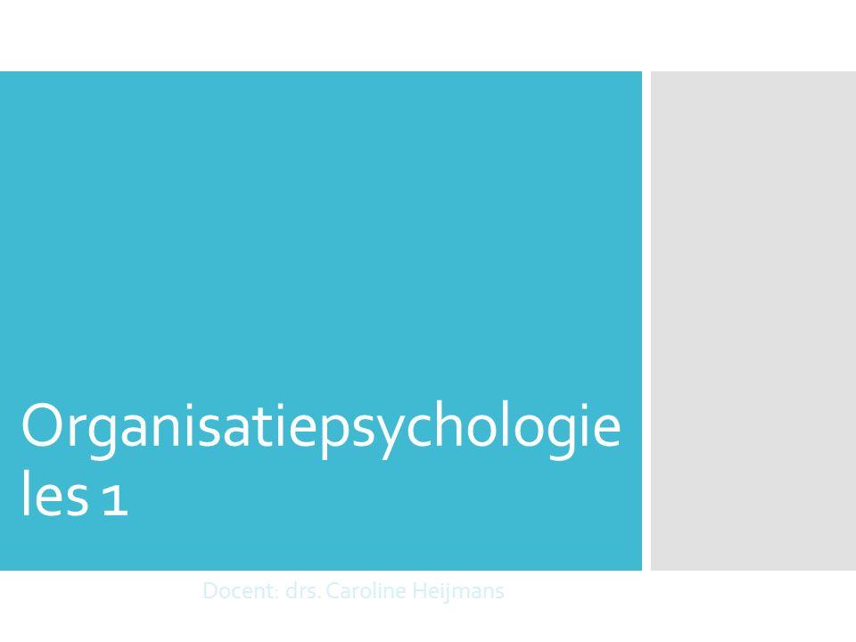 Organisatiepsychologie les 1