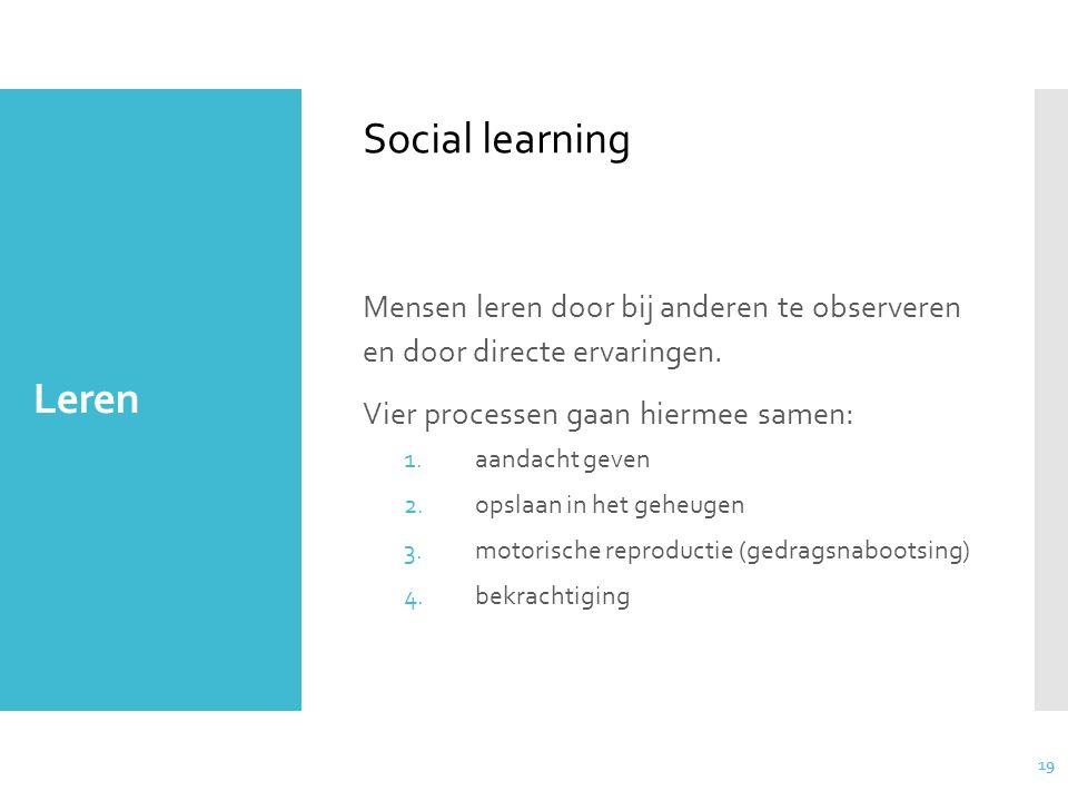 Social learning Leren. Mensen leren door bij anderen te observeren en door directe ervaringen. Vier processen gaan hiermee samen: