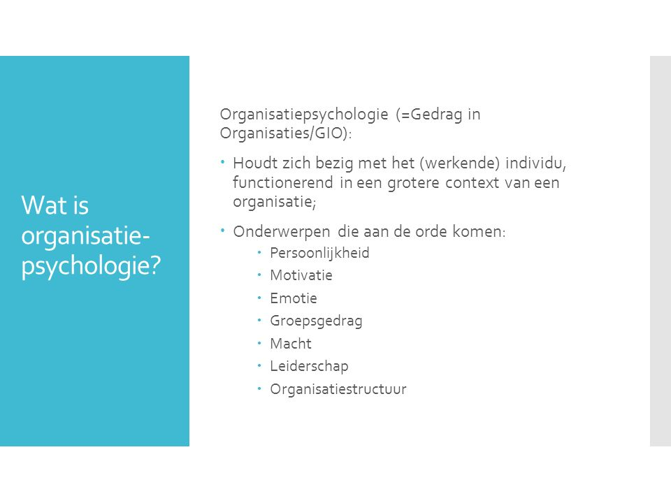 Wat is organisatie-psychologie