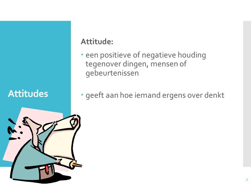 Attitude: een positieve of negatieve houding tegenover dingen, mensen of gebeurtenissen. geeft aan hoe iemand ergens over denkt.