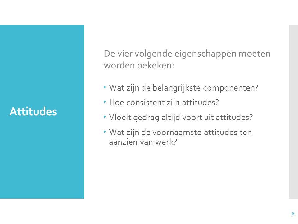 Attitudes De vier volgende eigenschappen moeten worden bekeken: