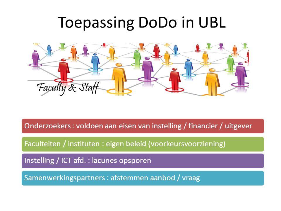 Toepassing DoDo in UBL Onderzoekers : voldoen aan eisen van instelling / financier / uitgever.