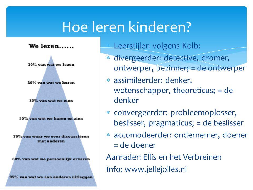 Hoe leren kinderen Leerstijlen volgens Kolb: