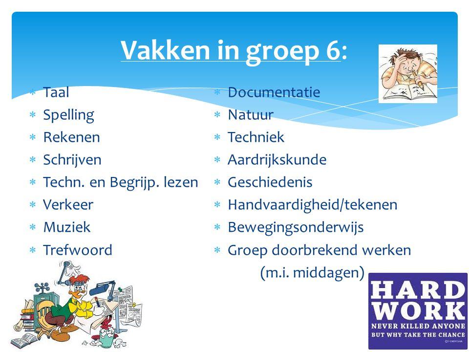 Vakken in groep 6: Taal Spelling Rekenen Schrijven
