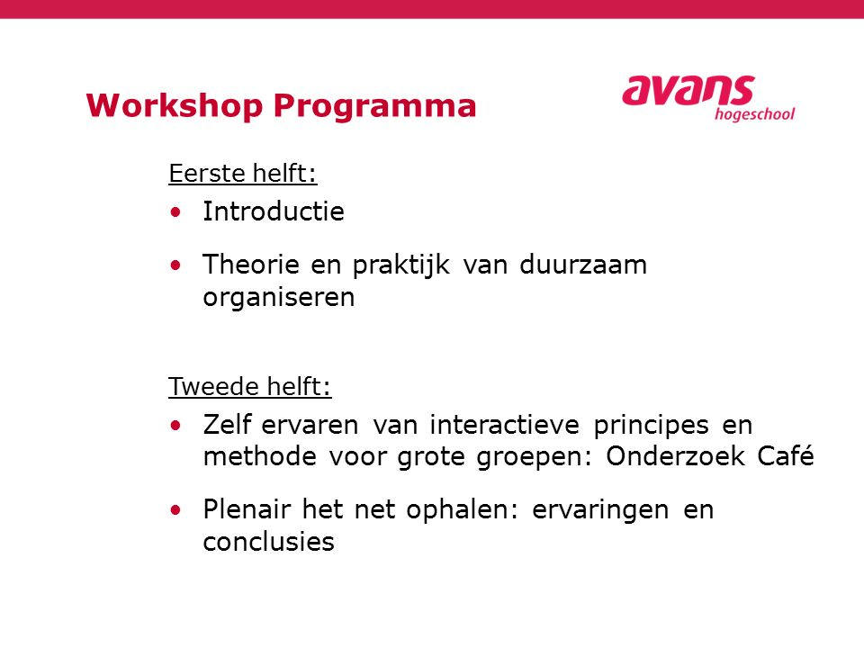 Workshop Programma Introductie