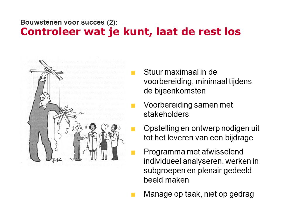Bouwstenen voor succes (2): Controleer wat je kunt, laat de rest los