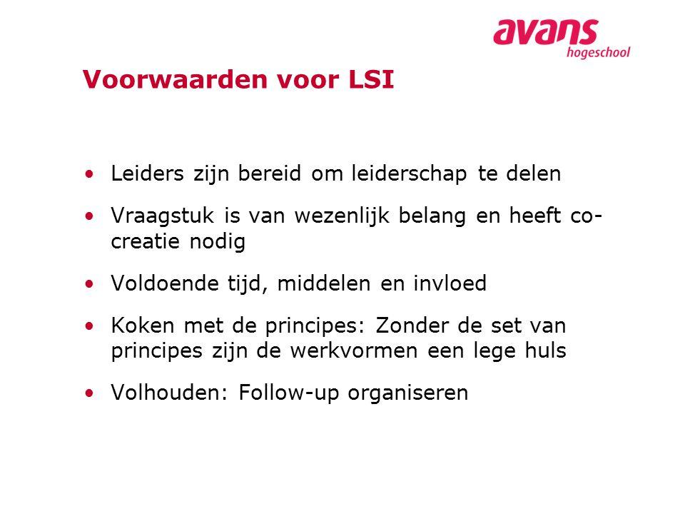Voorwaarden voor LSI Leiders zijn bereid om leiderschap te delen