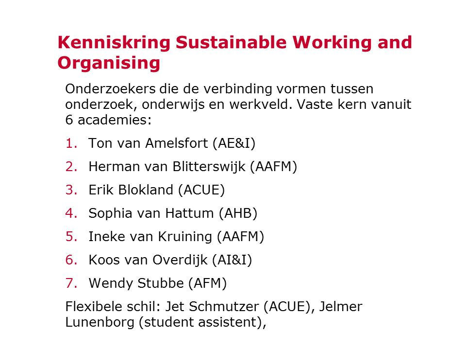 Kenniskring Sustainable Working and Organising