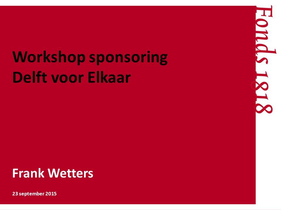 Workshop sponsoring Delft voor Elkaar