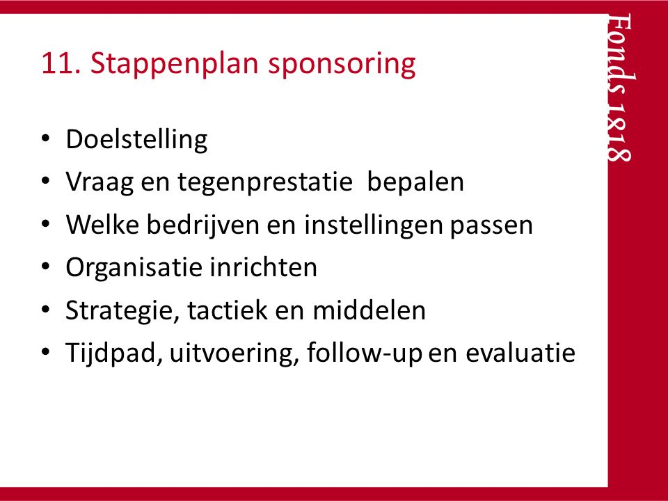 11. Stappenplan sponsoring