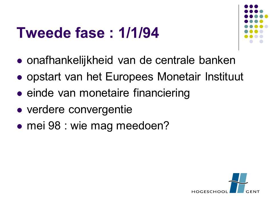 Tweede fase : 1/1/94 onafhankelijkheid van de centrale banken