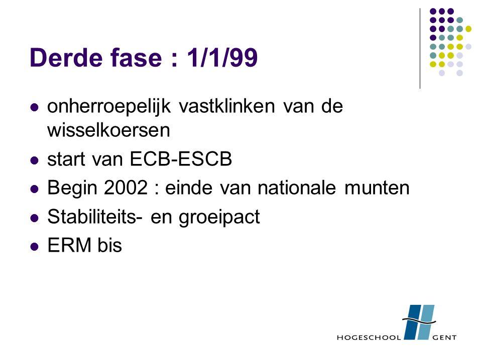 Derde fase : 1/1/99 onherroepelijk vastklinken van de wisselkoersen