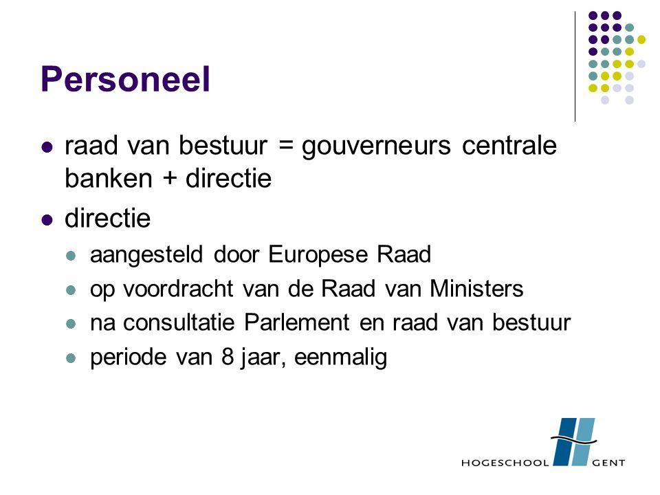 Personeel raad van bestuur = gouverneurs centrale banken + directie