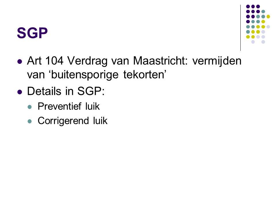 SGP Art 104 Verdrag van Maastricht: vermijden van 'buitensporige tekorten' Details in SGP: Preventief luik.
