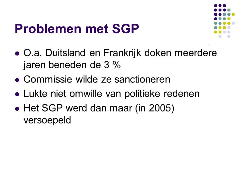 Problemen met SGP O.a. Duitsland en Frankrijk doken meerdere jaren beneden de 3 % Commissie wilde ze sanctioneren.