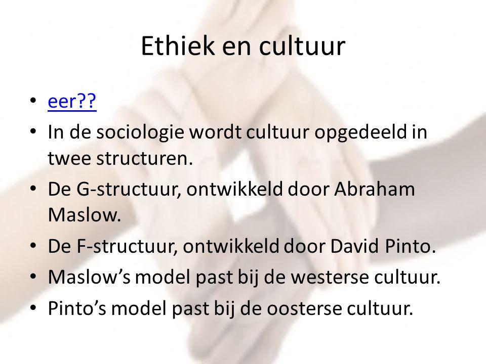 Ethiek en cultuur eer In de sociologie wordt cultuur opgedeeld in twee structuren. De G-structuur, ontwikkeld door Abraham Maslow.