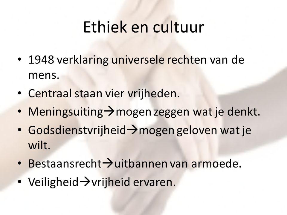 Ethiek en cultuur 1948 verklaring universele rechten van de mens.