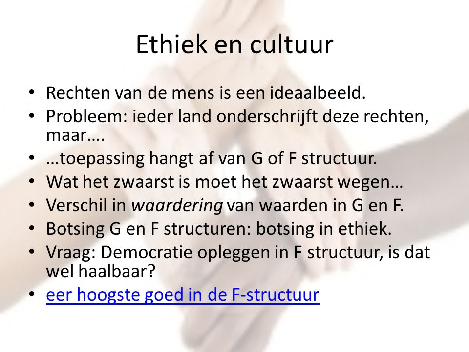 Ethiek en cultuur Rechten van de mens is een ideaalbeeld.