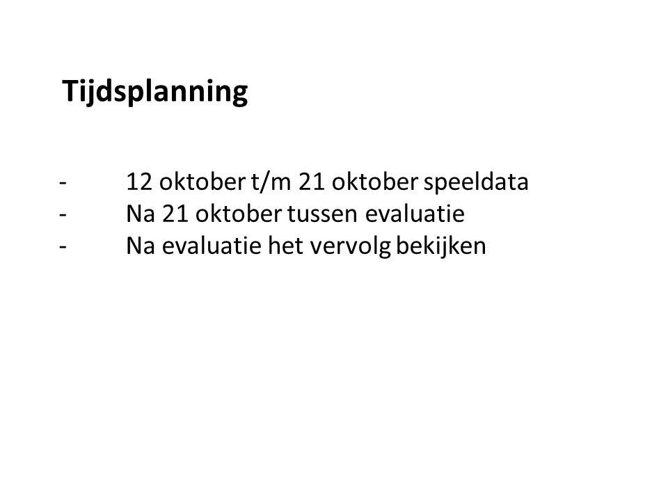 Tijdsplanning - 12 oktober t/m 21 oktober speeldata - Na 21 oktober tussen evaluatie - Na evaluatie het vervolg bekijken.