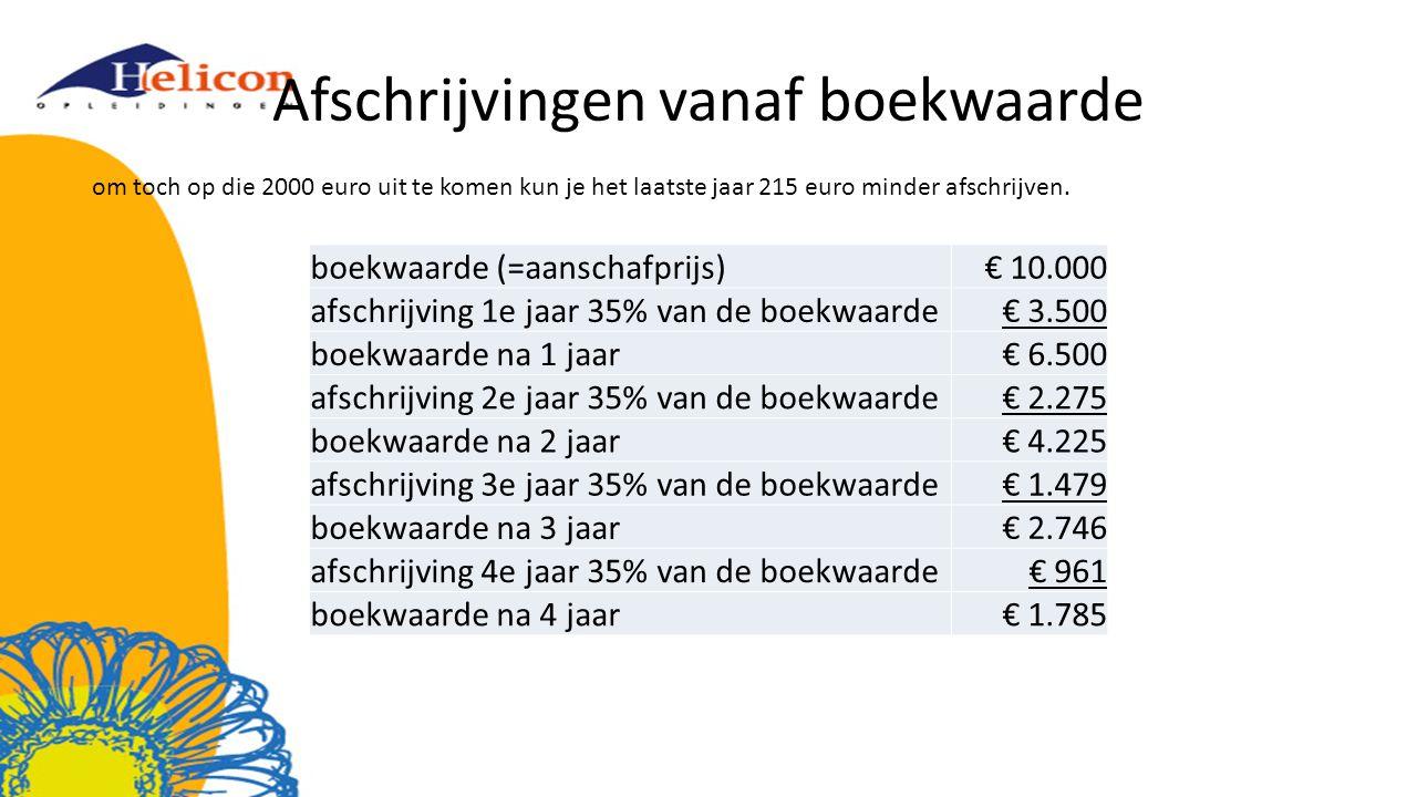 Afschrijvingen vanaf boekwaarde