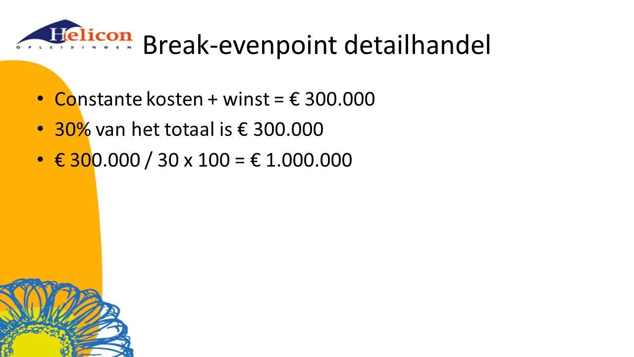 Break-evenpoint detailhandel