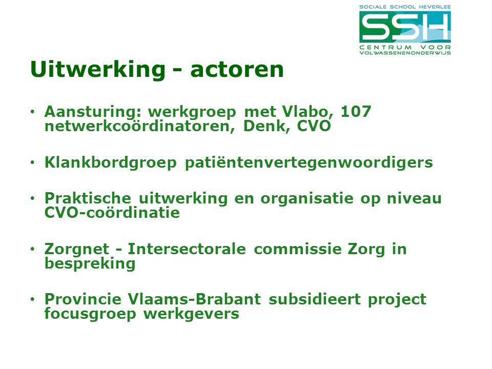 Uitwerking - actoren Aansturing: werkgroep met Vlabo, 107 netwerkcoördinatoren, Denk, CVO. Klankbordgroep patiëntenvertegenwoordigers.