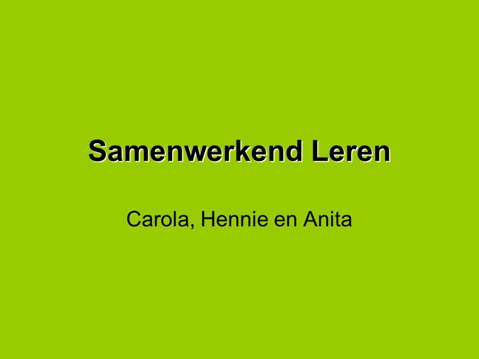 Samenwerkend Leren Carola, Hennie en Anita