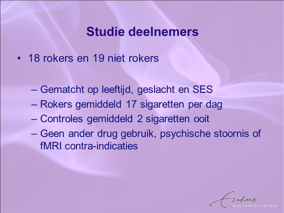 Studie deelnemers 18 rokers en 19 niet rokers