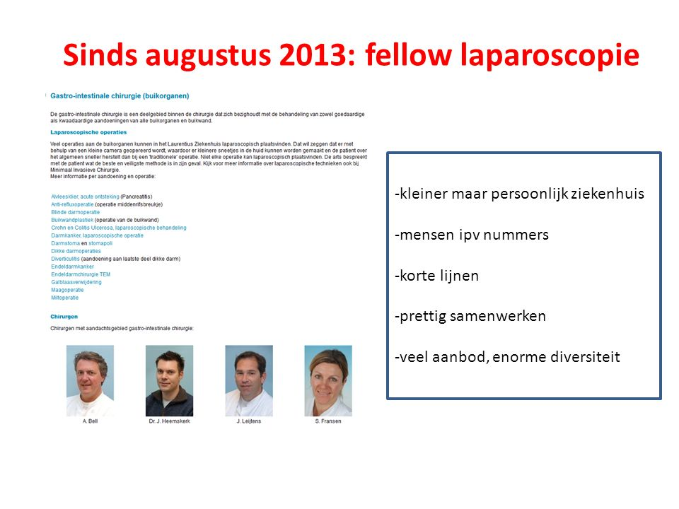 Sinds augustus 2013: fellow laparoscopie