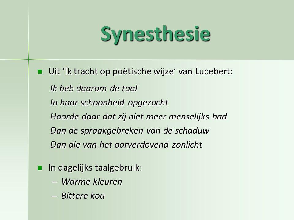 Synesthesie Uit 'Ik tracht op poëtische wijze' van Lucebert: