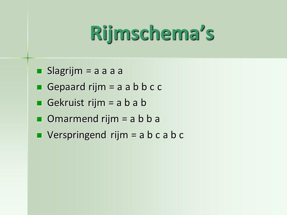 Rijmschema's Slagrijm = a a a a Gepaard rijm = a a b b c c