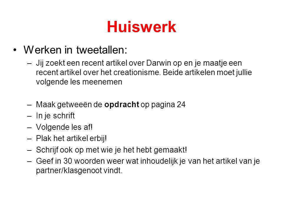 Huiswerk Werken in tweetallen: