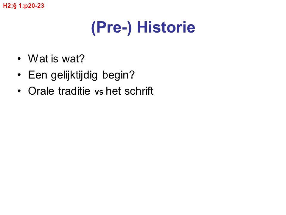 (Pre-) Historie Wat is wat Een gelijktijdig begin