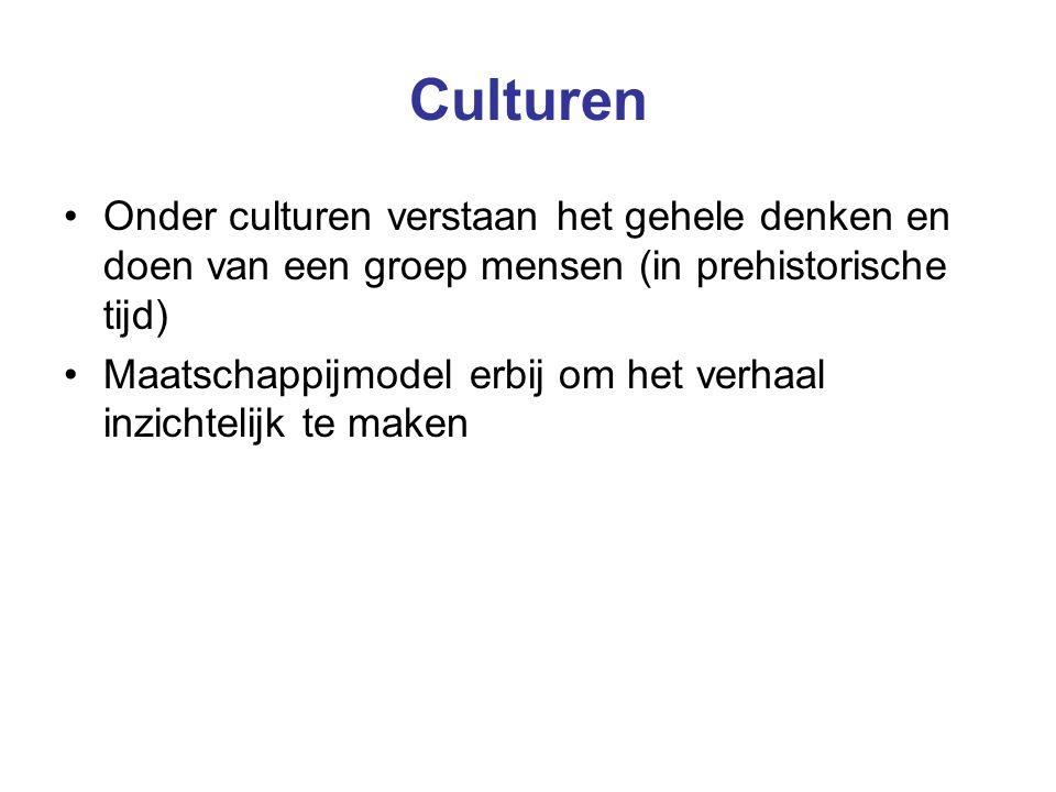 Culturen Onder culturen verstaan het gehele denken en doen van een groep mensen (in prehistorische tijd)