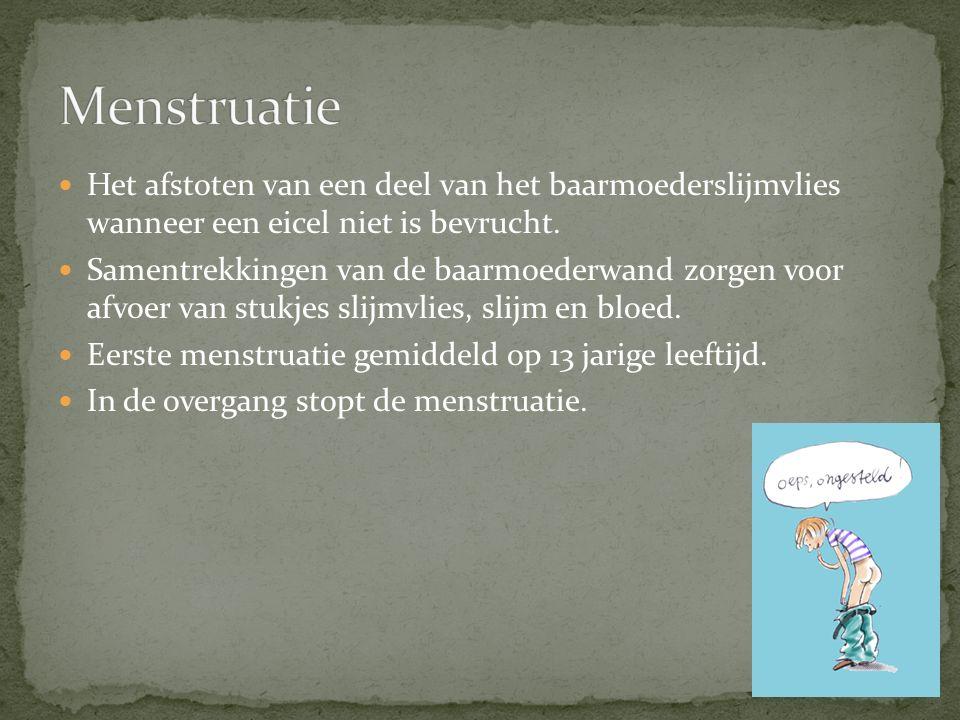 Menstruatie Het afstoten van een deel van het baarmoederslijmvlies wanneer een eicel niet is bevrucht.