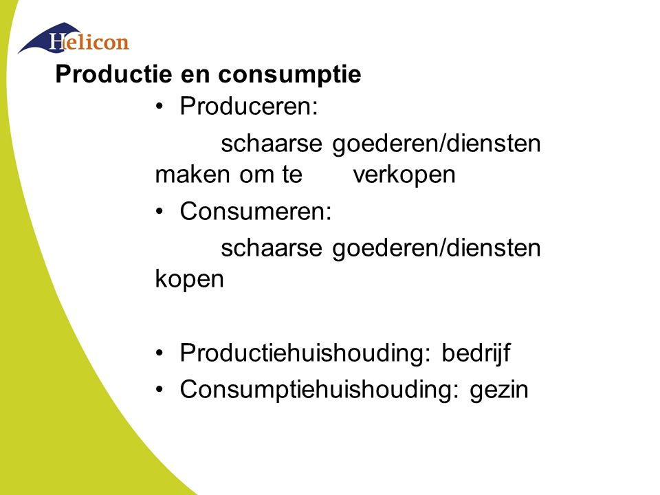 Productie en consumptie
