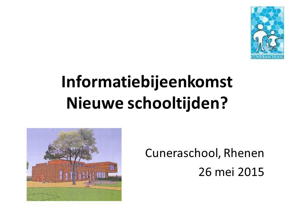 Informatiebijeenkomst Nieuwe schooltijden